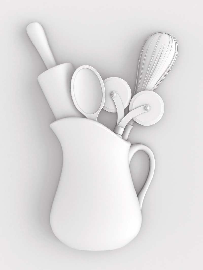 3D Illustration – Kitchen Utensils Set in Plaster –