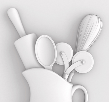 3D Illustration – Kitchen Utensils Set in Plaster